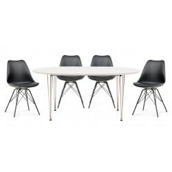 Tripoli spisebordssæt inkl. 4 Marietta stole - Hvid/Sort
