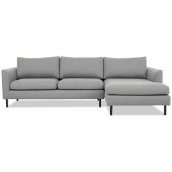Aston chais. sofa højrevendt m. sorte ben - Lysegrå Inari 91