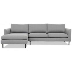 Aston chais. sofa venstrevendt m. sorte ben - Lysegrå Inari 91