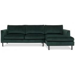 Aston chais. sofa højrevendt m. sorte ben - Flaskegrøn Riviera 38