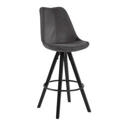 Holbæk barstol - Koksgrå m. sorte ben