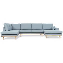 Torino U-sofa højrevendt - Blå Aspen 84
