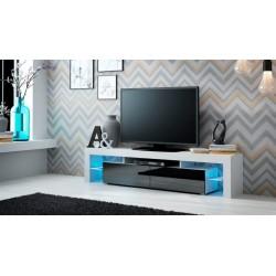Solo tv-bord - Hvid/Sort højglans