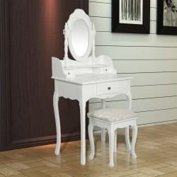 Toiletbord med spejl, Sminkebord Hvid