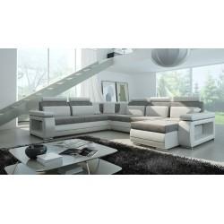 Milano U-sofa grå og Hvid Højrevendt