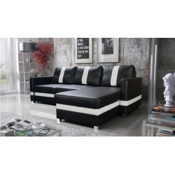 Coso Chaiselong sofa sort og hvid Højrevendt