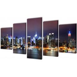 New York Skyline 200 vægkunst i sæt