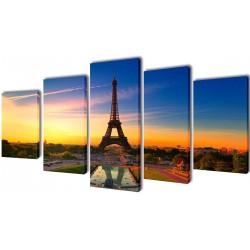 Sæt af lærredsprint til væg, Eiffeltårnet, 200x100 cm