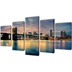 Sæt af lærredsprint til væg, Brooklyn Bridge River udsigt, 200x100 cm