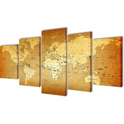 Sæt af lærredsprint til væg, verdenskort, 200x100 cm