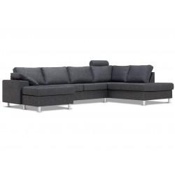 Tora sofa med chaiselong og hvilemodul antrazit Venstrevendt
