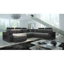 Milano U-sofa grå og sort Venstrevendt