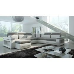 Milano U-sofa grå og Hvid Venstrevendt