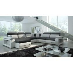 Milano U-sofa sort og hvid Venstrevendt