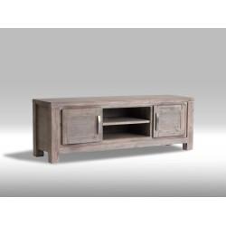 Alaska TV-bord 160 med 2 låger og 1 hylde i brunbejdset Akacietræ