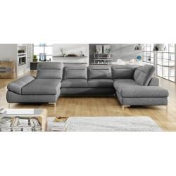 Timola XL U-Sofa grå stof venstrevendt