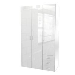 Bolmen garderobeskab 115 cm 3 låger - Hvid højglans