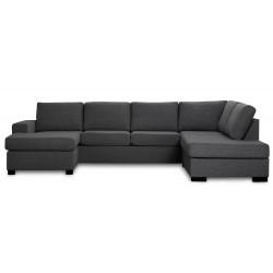 Detroit U-sofa Højrevendt mørkegrå