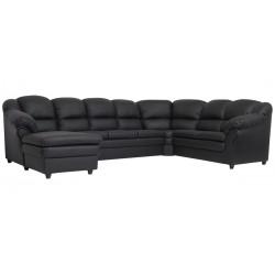 Lissabon hj. sofa m. chais. - venstre - Sort tekstillæder