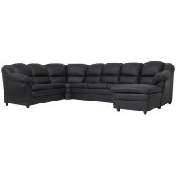 Lissabon hj. sofa m. chais. - højre - Sort tekstillæder