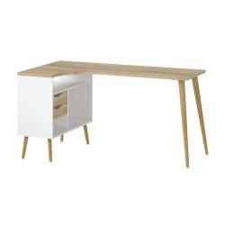 Charlie skrivebord m. 2 skuffer - Hvid/Eg